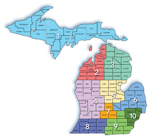 Region Map of Michigan
