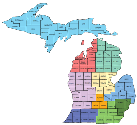 Michigan map showing regions